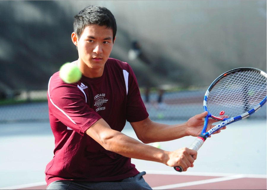 Second-year David Liu returns a ball earlier last season.