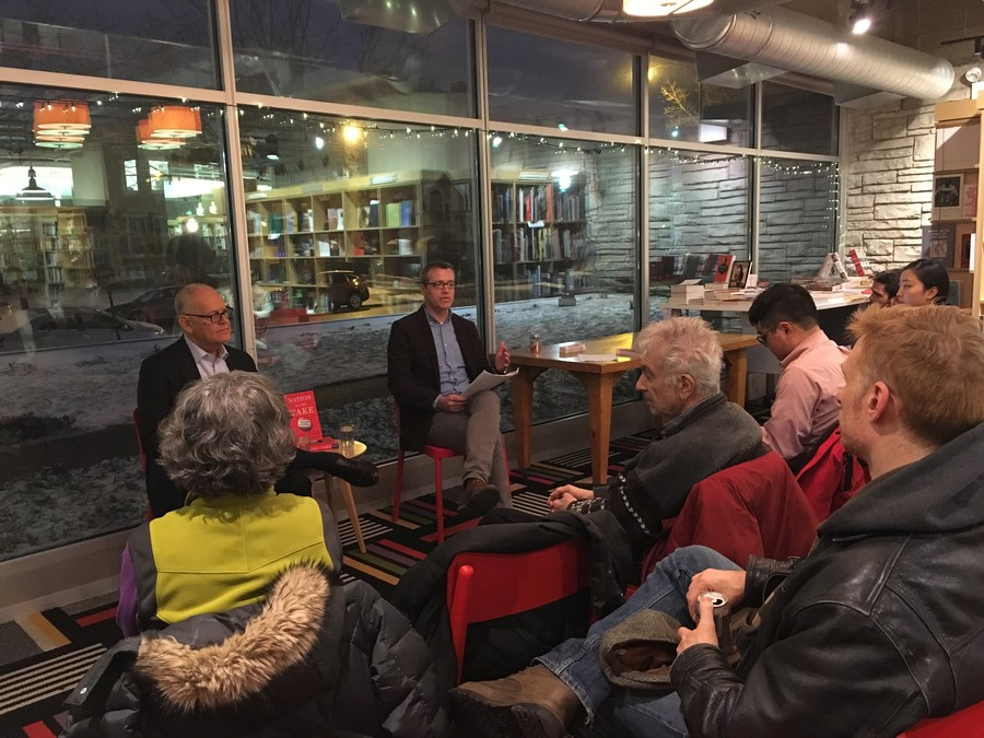 "Wendell Potter and Nick Penman speak at the Seminary Co-Op Bookstore introducing their new book ""Nation on the Take."""