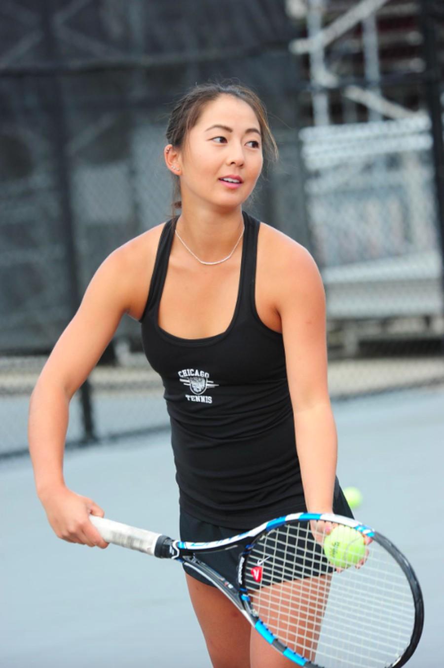 First-year Rachel Kim prepares a serve