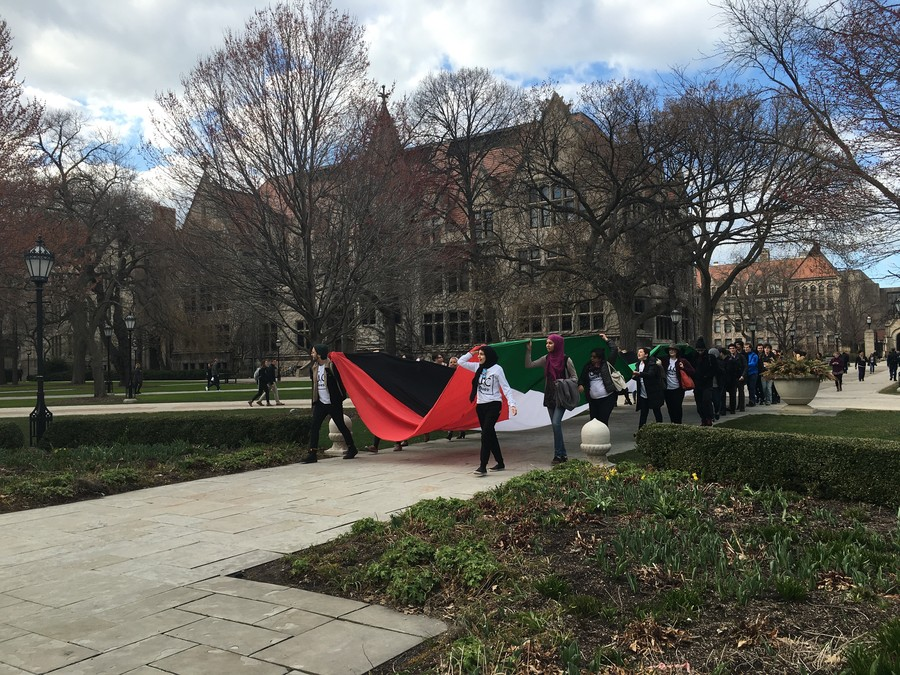 Students march through the quad on March 28, kicking off a rally pushing for the divestment of Israel.