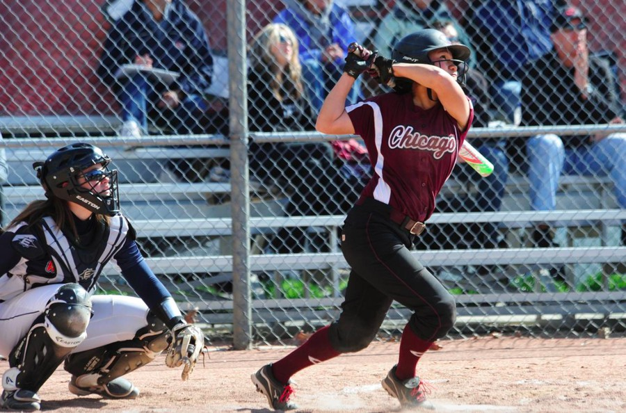 Third-year Anna Woolery bats in a game against Wheaton College last year.