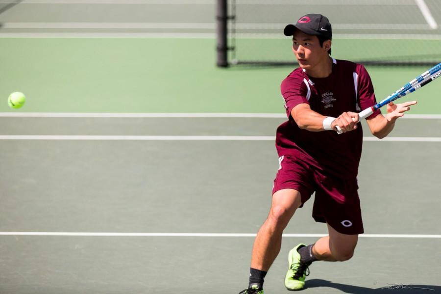 Second-year David Liu plays in a match.