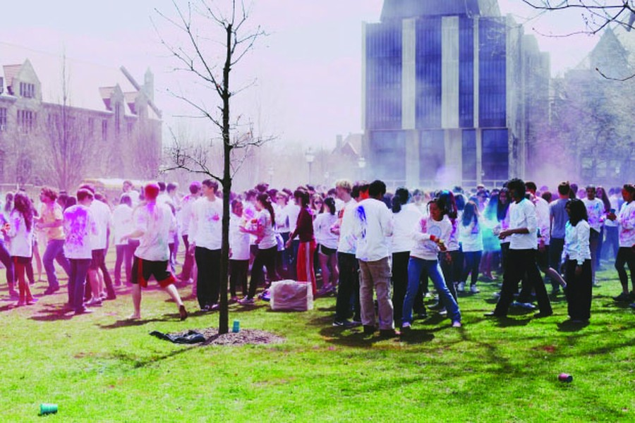 Student groups celebrate Holi, the annual Hindu festival of colors and spring, with playful event on the quad. Tide to Go required.
