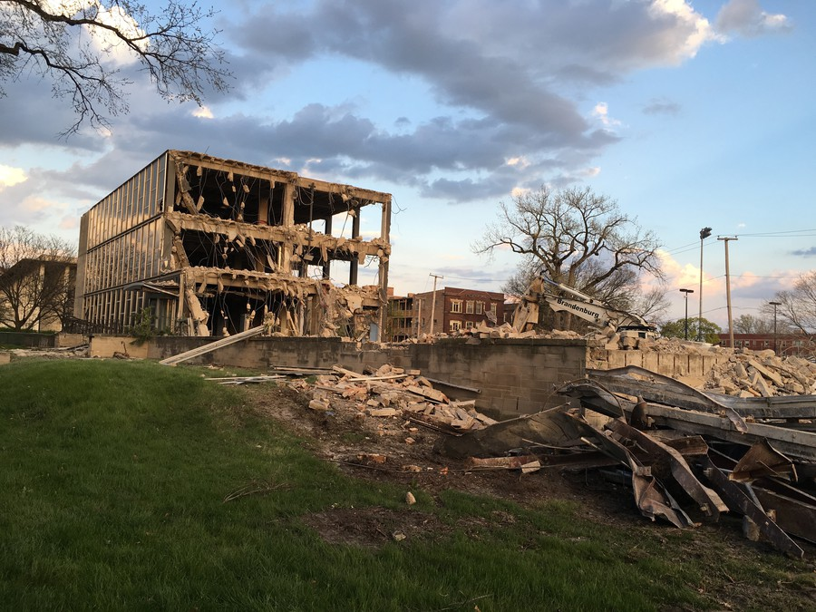 The Charles Stewart Mott building was knocked down this past week.
