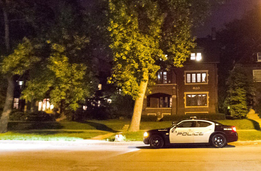 A UCPD car parked in front of the Phi Delta Theta fraternity house in 2013.