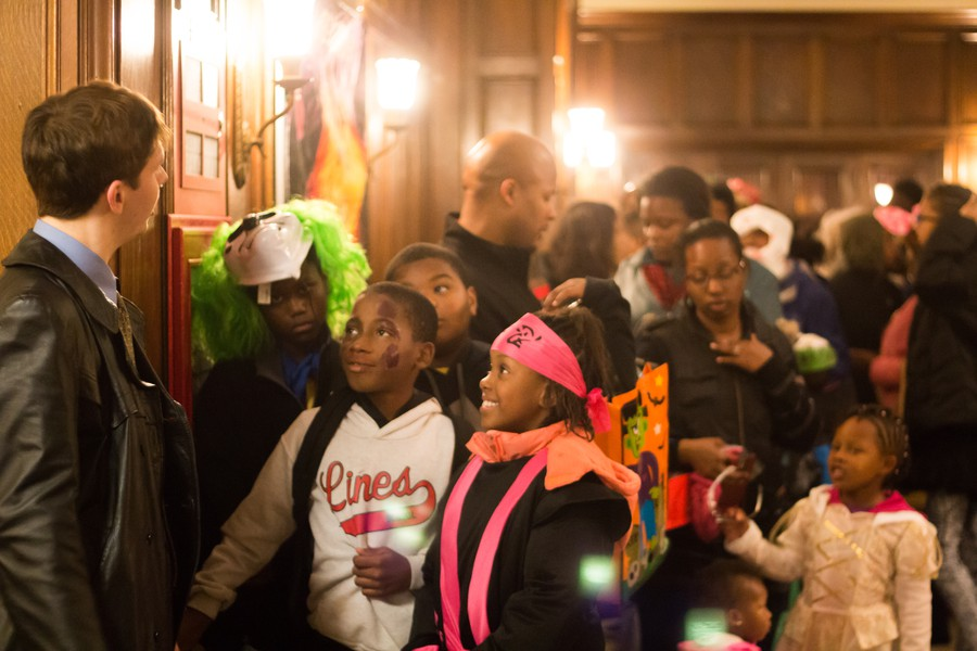 Trick-or-treaters line up for the Breckinridge Haunted House on Halloween Night.