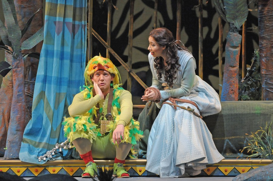 Papageno (Stephane Degout) and Pamina (Nicole Cabell) sing a little ditty.