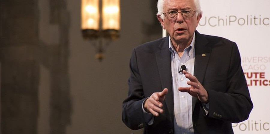Bernie Sanders in 2015, at the IOP. At the time of the previous Register poll, Sanders topped the tally with 20 percent support from expected caucus attendees.