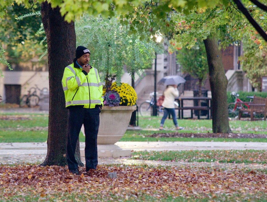 Campus security pictured on the main quad.