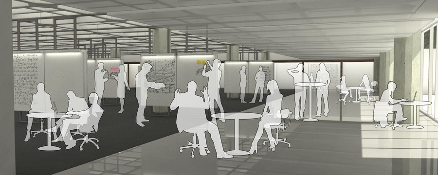 Partial view of the north side of the redesigned A-Level; rendering by Woodhouse Tinucci Architects.