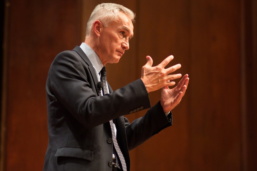 Journalist Jorge Ramos speaks at International House on Wednesday about immigration, the responsibilities of journalists, and the upcoming presidential elections.