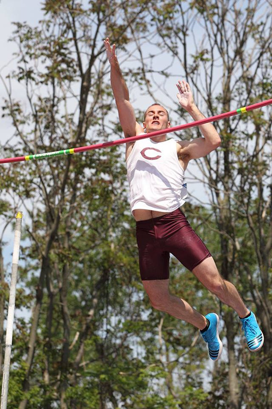 Fourth-year Michael Bennett en route to a successful jump in a recent year's meet.