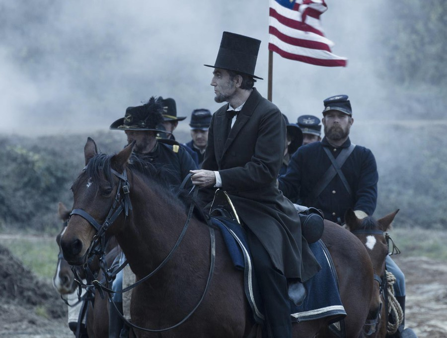 Lincoln (Daniel Day-Lewis) has a hat as tall as this film is long.