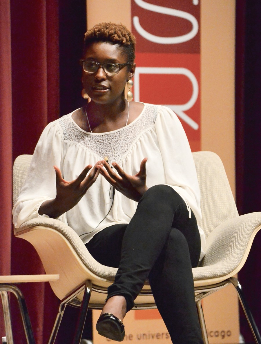 Writer, actress and producer Issa Rae at a discussion with students.