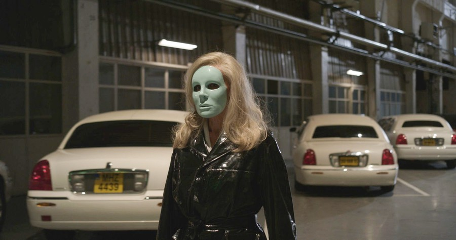 M. Oscar (Kylie Minogue) just can't get this mask off of her head in Léos Carax's Holy Motors.