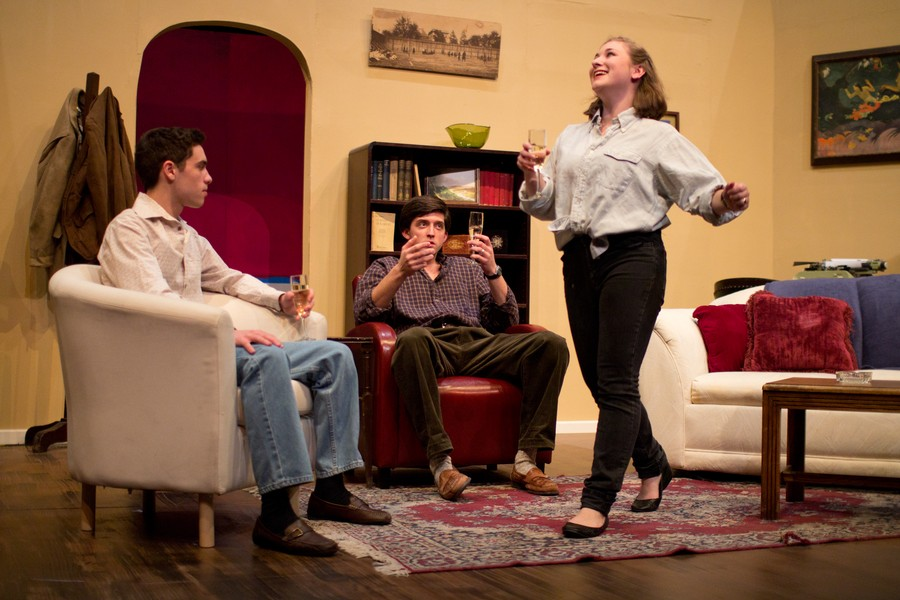 Left to right, first-year Michael Findley, fourth-year Justin Krivda, and third-year Arielle Von Hippel star in the UT/TAPS production of The Real Thing.