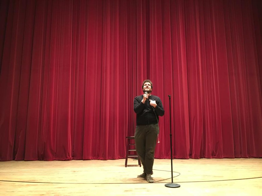 Fourth-year Peter Moller opened MAB's Winter Comedy Show in Mandel Hall last Friday night.