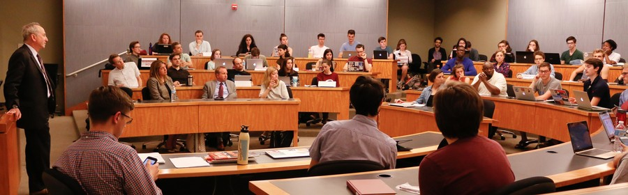 Provost Isaacs attended a Student Government Assembly meeting to speak with students on May 23.