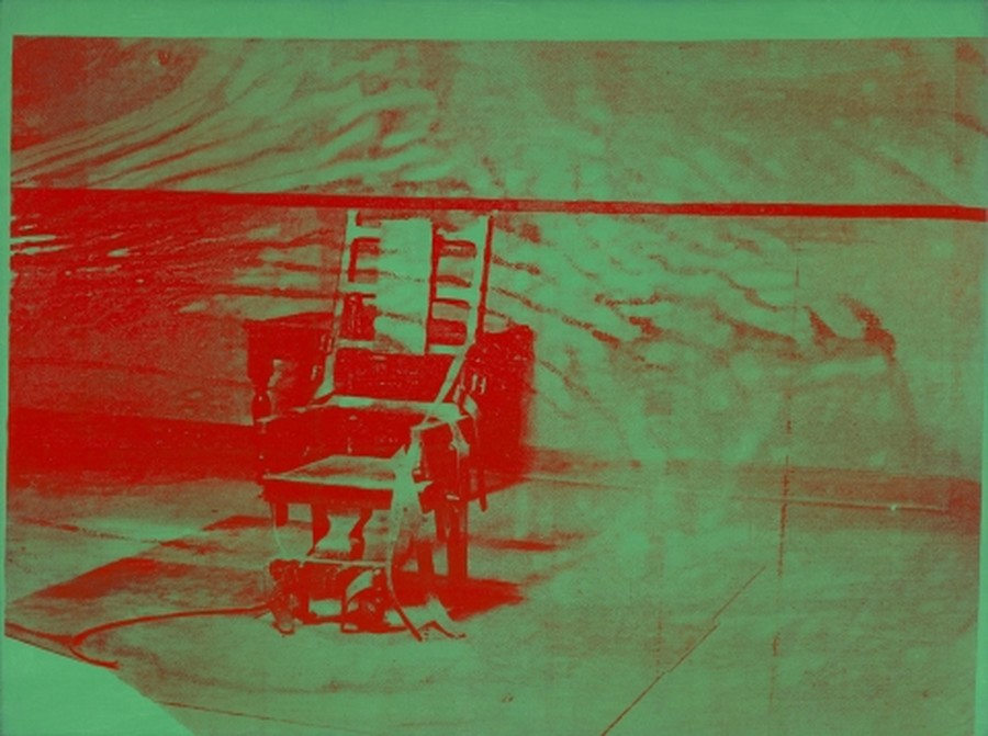 A panel from Warhol's series Big Electric Chair, which features a photograph of an empty execution chamber at a New York penitentiary.