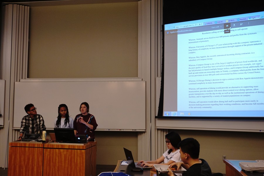 The Student Government Assembly discusses a proposal that the University self-operate for dining on May 9.