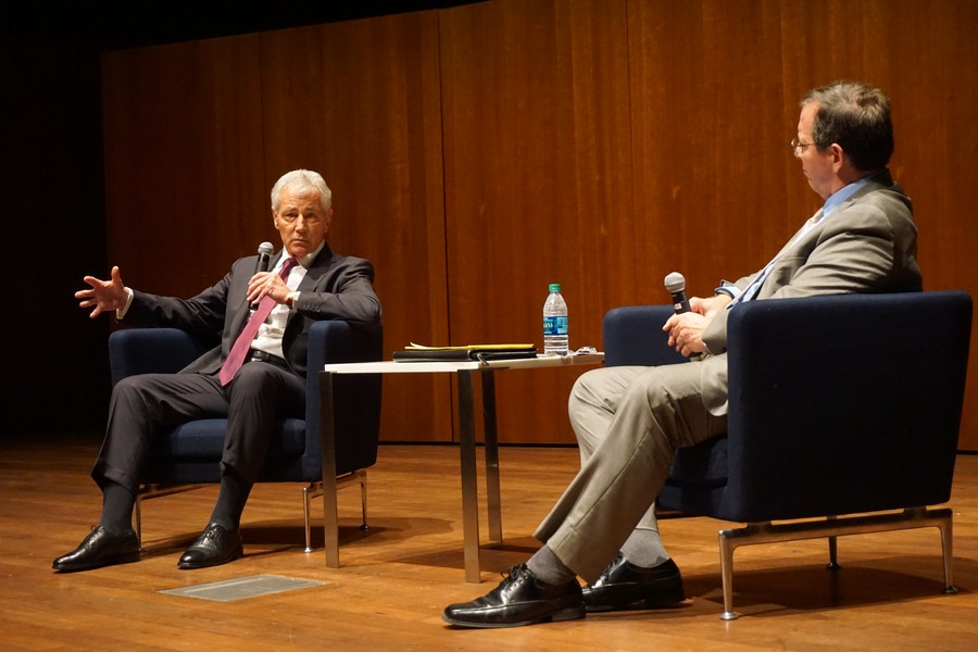 Chuck Hagel, former Secretary of Defense, visits the university at the Logan Performance Hall on May 12.