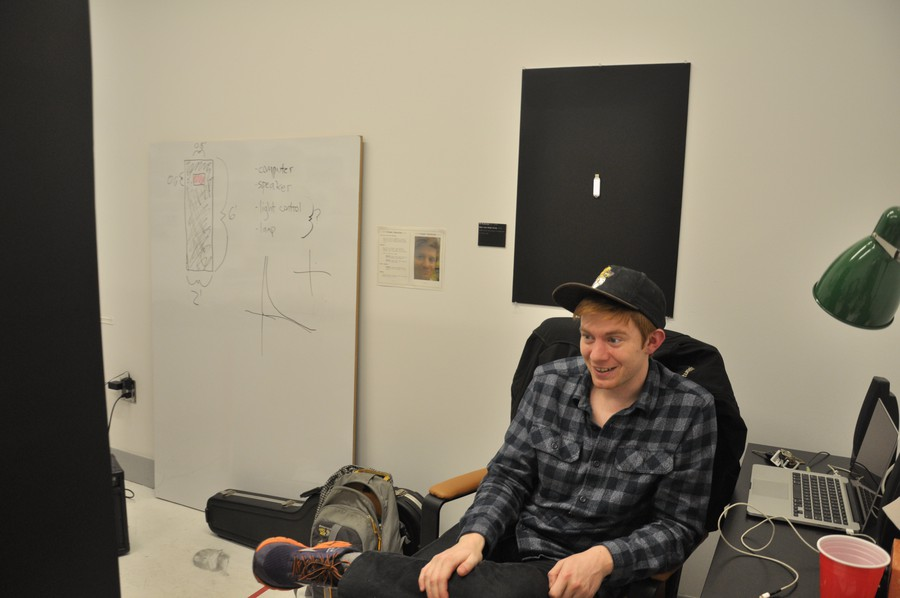 First-year DOVA M.F.A. student Ben Nicholson is an artist for the Facebook age: His work analyzes how screens mediate—and sometimes dominate—our lives.