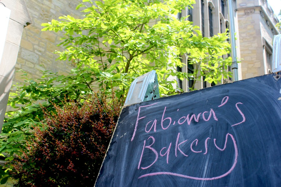 Chalkboard sign outside Fabiana's Bakery.
