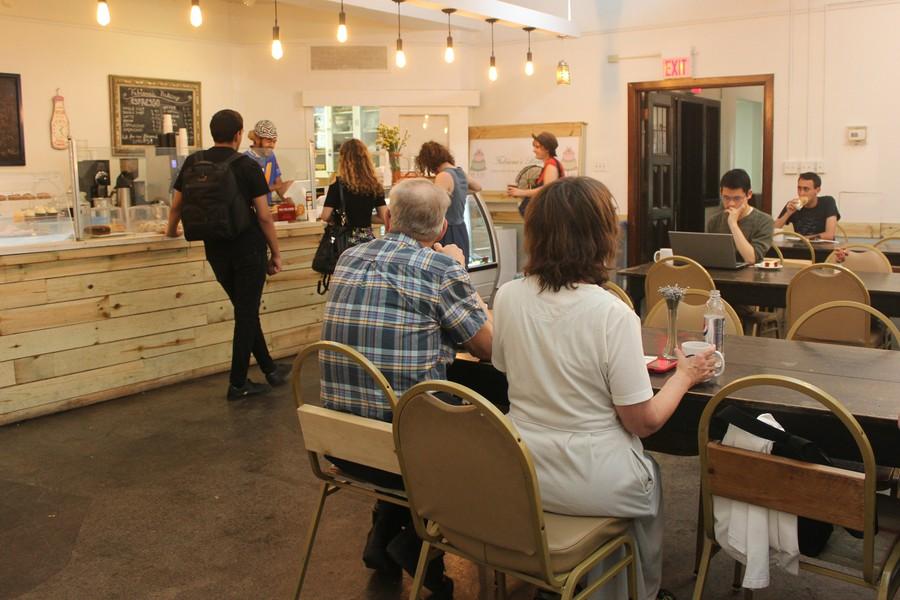 Patrons inside Fabiana's Bakery