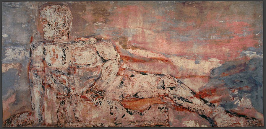 Leon Golub's dreamlike Reclining Youth (1959) is currently on display at the Smart Museum.