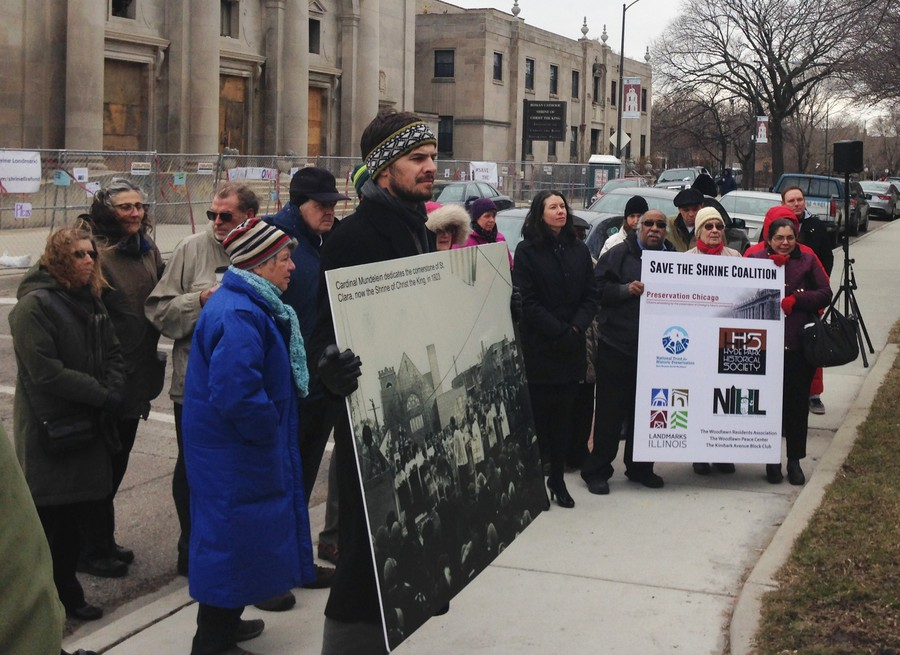Members of the Save the Shrine Coalition protest the plan to demolish Shrine of Christ the King Church on 64th and Woodlawn.