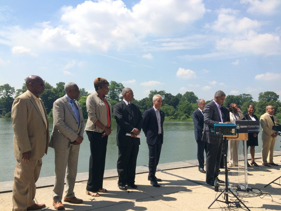 Obama Foundation Chair Martin Nesbitt discussed plans for the center at a press conference on August 4, 2016 in front of the Jackson Park Lagoon.