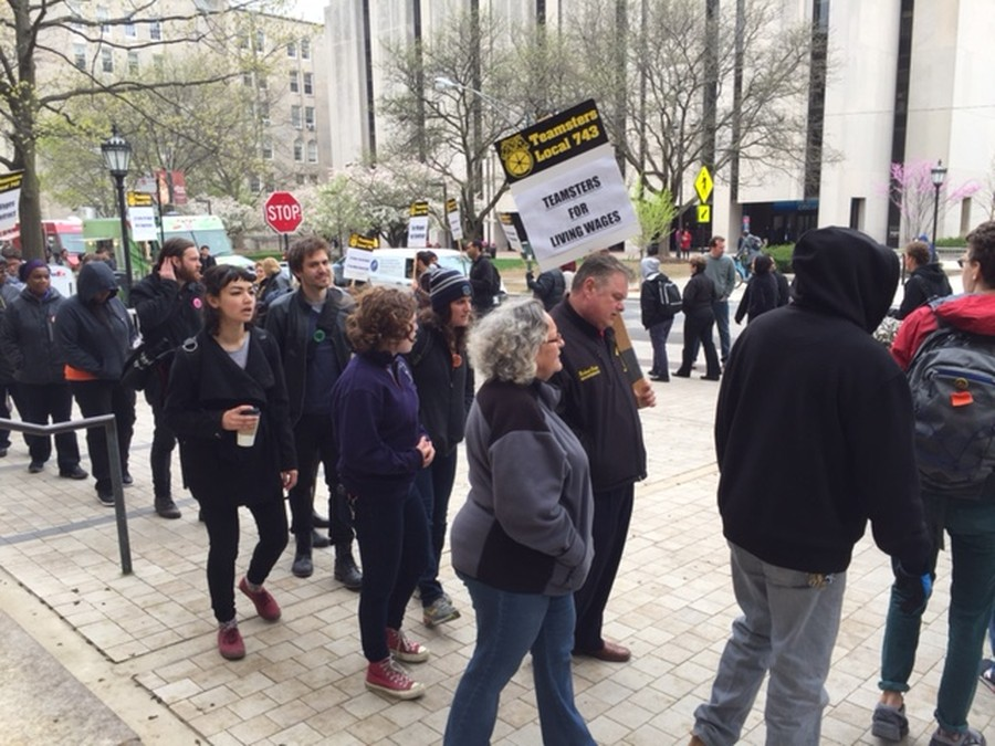 Teamsters Local 743 rallied outside Levi Hall on Wednesday.