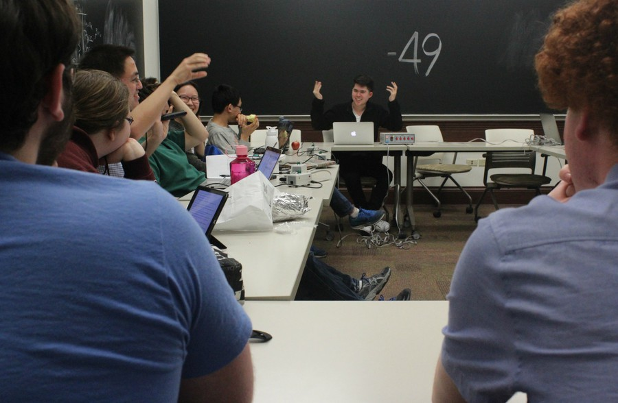 The Quiz Bowl Team practices last week. The team competed in two national tournaments over the last two months.