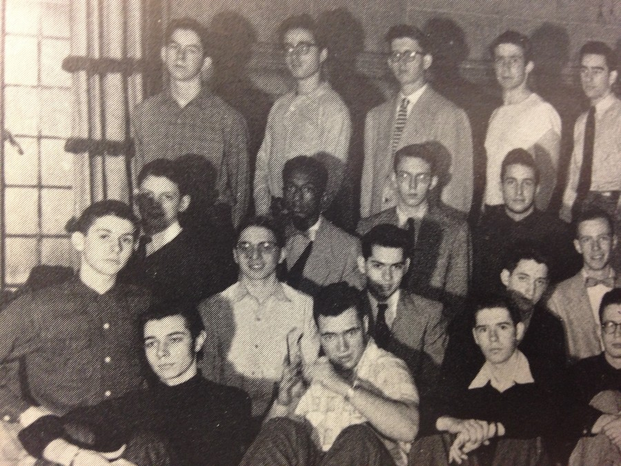 15-year-old Philip Glass (middle row, far left) in a Coulter House yearbook photo, circa 1952.