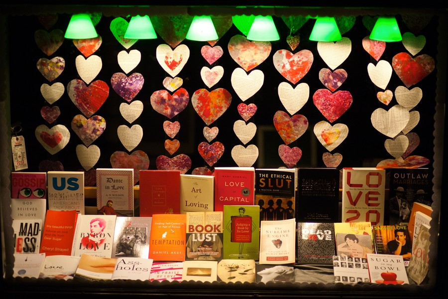 57th Street Books Valentine-themed window display, all dessed up and no place to go.