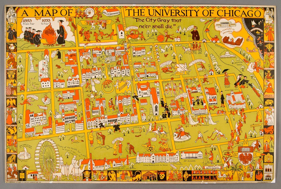 This cartoon map of the University's campus can be found in both the exhibit and the C-Shop.