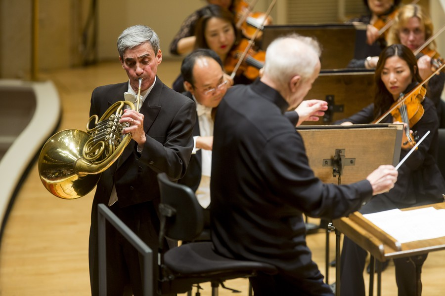 Daniel Gingrich gave a rousing performance of Mozart's Horn Concerto No. 3, conducted by Edo de Waart.