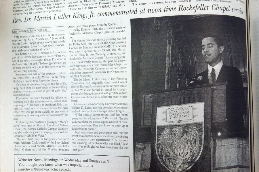 Barack Obama, then an Illinois state senator and senior lecturer at the Law School gives the 2002 keynote address at the University's Martin Luther King, Jr. celebration. Obama photo courtesy of Joon Park/Chicago Maroon Archives.