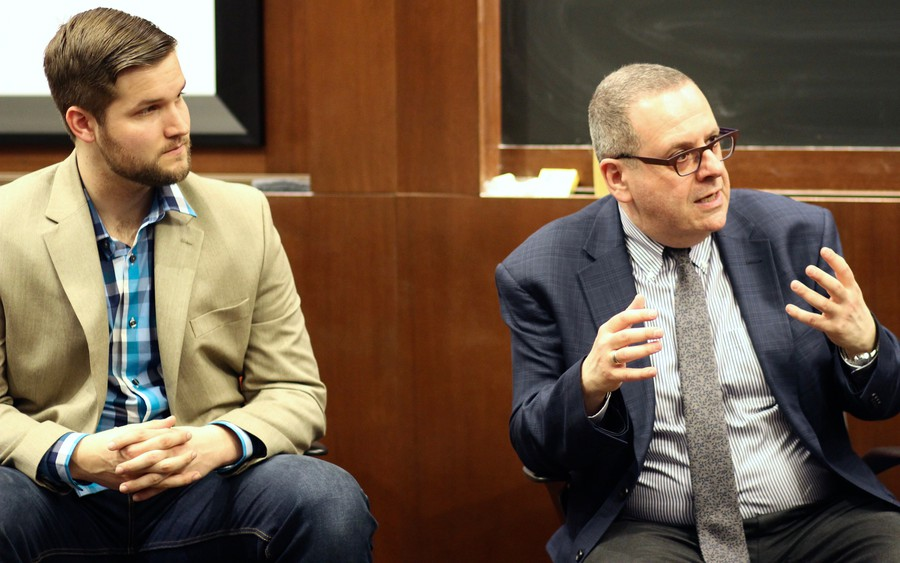 "Daniel Grambow, general director of the Floating Opera Company, and Anthony Freud, general director of Lyric Opera, spoke at the Intercollegiate Finance Journal's speaker event, ""Opera­nomics,"" on May 3."