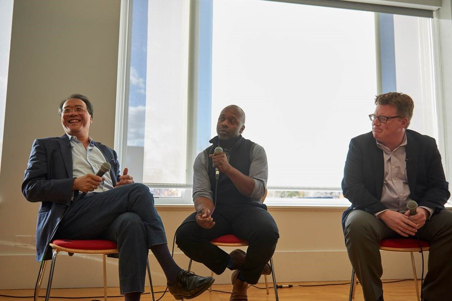 Cellist Yo-Yo Ma and artist Theaster Gates, in a conversation moderated by Logan Center for the Arts Executive Director Bill Michel.