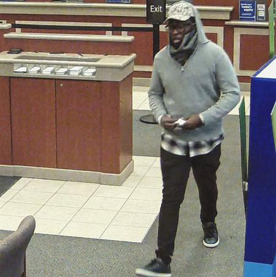 A still from surveillance video showing the man the FBI calls the 'Pinball Bandit' and suspects of six bank robberies, including three in Hyde Park.