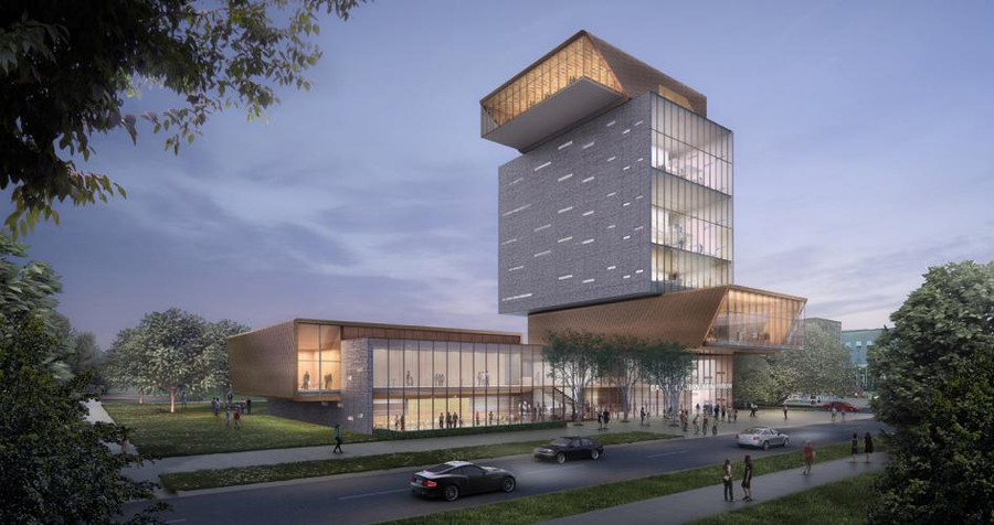 A rendering of the David M. Rubenstein Forum, to be located at the southeast corner of Woodlawn Avenue and 60th Street.