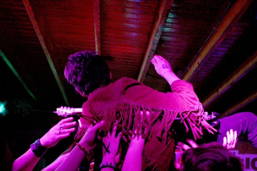 Sam Wilkerson of White Reaper crowdsurfs at The Sidewinder, a venue in Austin.