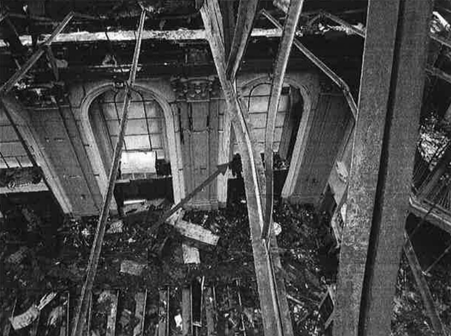 A picture showing damage to the building's structural supports.
