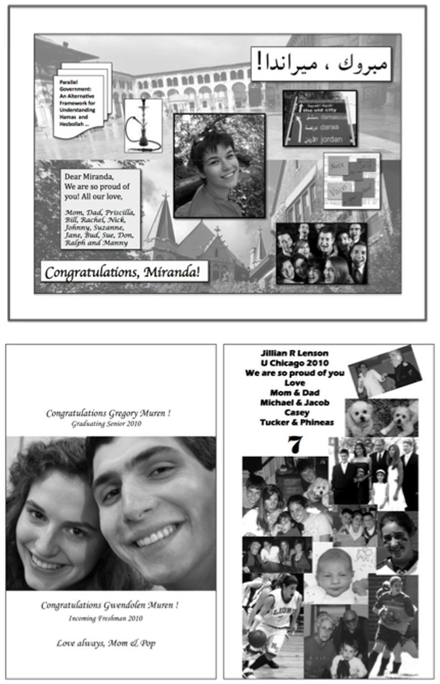 Graduation advertisement examples