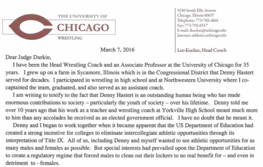 Leo Kocher wrote a letter on UChicago letterhead to the federal judge presiding over Hastert's case.