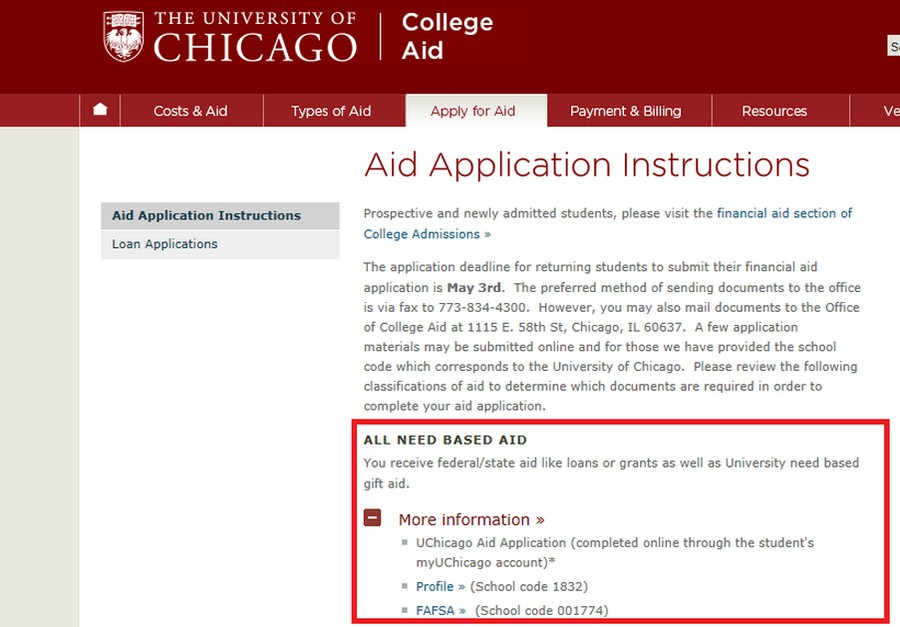 The old page on the University's website for students applying for financial aid. This screenshot was posted on the House's Committee on Oversight and Government Reform website.