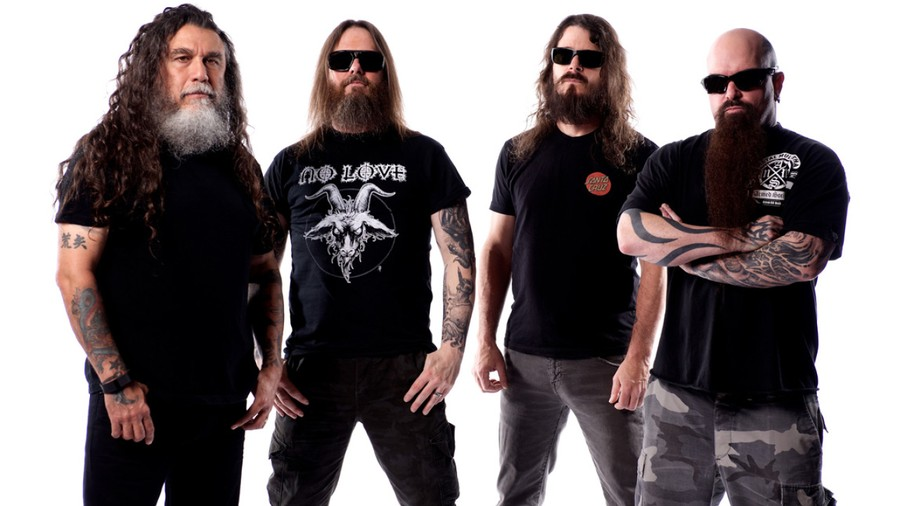 Though Tom Araya (far left) and Kerry King (far right) are Slayer's only remaining original members, they can still hold their own alongside newcomers Gary Holt and Paul Bostaph.