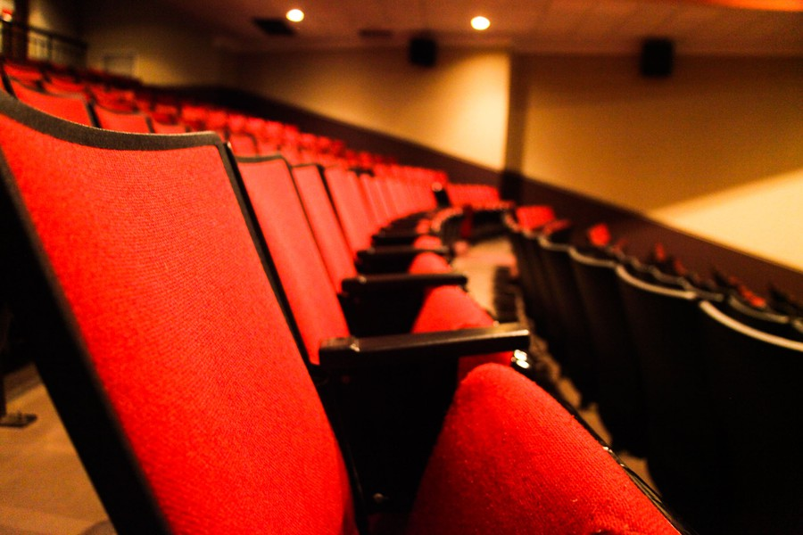 The plush red chairs in Doc Films's Max Palevsky Theater.
