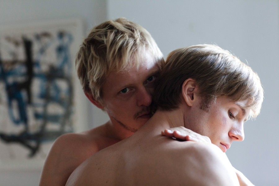 Erik (Thure Lindhardt) channels a vampiric Alexander Skarsgård, in a scene with his lover Paul (Zachary Booth).